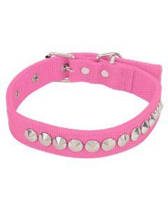 Petsworld High Quality Adjustable Nylon Silk Dog Collar 1 Inch with Silver Spike Studs (Pink)