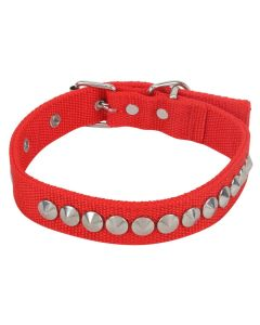 Petsworld High Quality Adjustable Nylon Silk Dog Collar 1 Inch with Silver Spike Studs (Red)