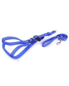Petsworld Dog Harness and Leash Set Step in Padded for Medium Dogs 1 INCH Blue