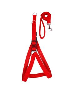 Petsworld Dog Harness and Leash Set Step in Padded for Medium Dogs 1 INCH Red