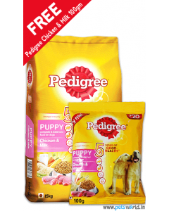 Pedigree Puppy Chicken and Milk Dog Food 3 Kg + FREE Pedigree Try Me Puppy Chicken and Milk 100 gms