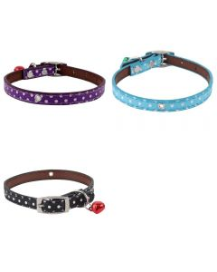Petsworld High Quality Combo of 3 Polka Dots Collar with Bell for Small Pet/Puppy/Cat