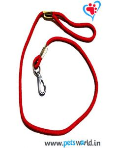 Pets World Leather Rope Leash  Red