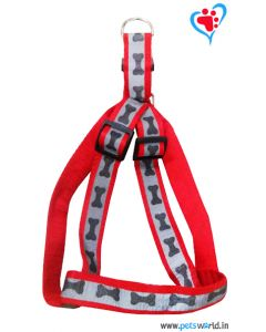 Petsworld Bone Mark Reflective Dog Harness - Red