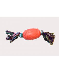 LUV 'N CARE Rugby Ball Bone Design with Chew Rope