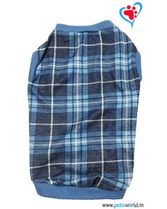 DOGEEZ Formal Blue Check Winter Dog Sweater 18 inch