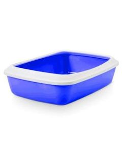 SAVIC Iriz 17 In Plus Rim White-Blue Cat Litter Tray