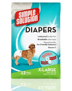 Simple Solution Pet Diapers 12 Diapers Couches XLarge