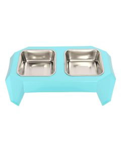 Petsworld Food & Water Stainless Steel 2 in 1 Bowl Set for Dog Style-E Blue