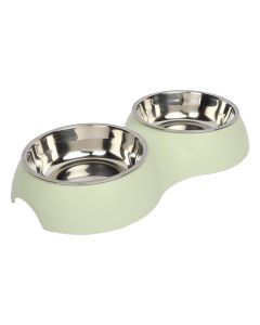 Petsworld Food & Water Stainless Steel 2 in 1 Bowl Set for Dog Style-J Dull Green