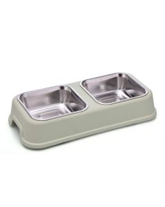 Petsworld Food & Water Stainless Steel 2 in 1 Bowl Set for Dog Style-L Dull Green