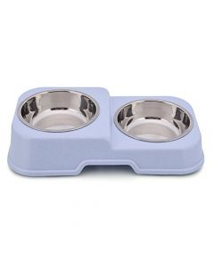 Petsworld Food & Water Stainless Steel 2 in 1 Bowl Set for Dog Style-M Blue