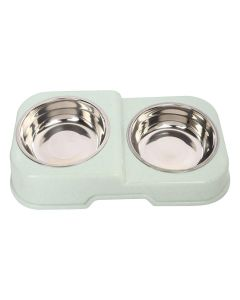 Petsworld Food & Water Stainless Steel 2 in 1 Bowl Set for Dog Style-M Dull Green