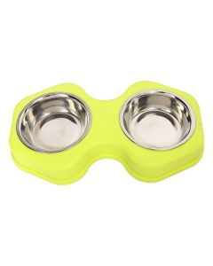 Petsworld Food & Water Stainless Steel 2 in 1 Bowl Set for Dog Style-Q Yellow