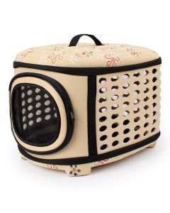 Petsworld Travel Foldable Pet Carrier Bag for Cat and Puppy Beige Small