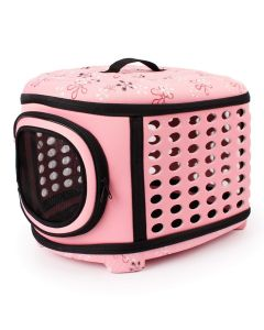 Petsworld Travel Foldable Pet Carrier Bag for Cat and Puppy Pink Small
