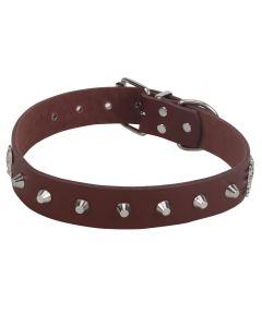 Petsworld High Quality Adjustable Dog Collar 1.1 Inch with Triangular Metal Rivet Studs Design-Large (Brown)