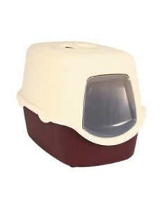 Trixie Vico Cat Litter Tray White Dome Bordeaux/Cream - LxBxH : 23x16x16 inch