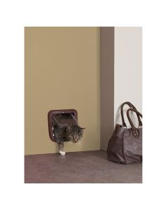 Savic Basic Cat Flap Access 4 Way Brown - LxB : 8.3x8.6 inch