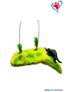 Pets World Hanging Turtle Island for Aquariums - Green