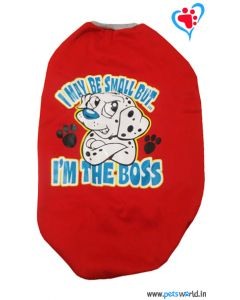 "DOGEEZ Winter Dog Tshirt ""I'M THE BOSS"" Red 26 inches"