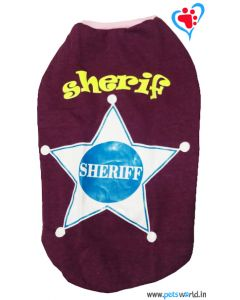 "DOG EEZ Dog Tshirt ""Sheriff"" Purple 22 inches"