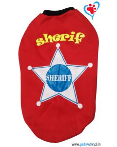 "DOG EEZ Dog Tshirt ""Sheriff"" Red 22 inches"