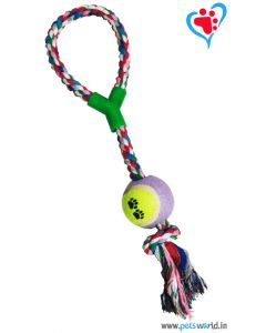 Petsworld Large Dog Tug Toy - Cotton Rope With Tennis Balls