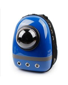 Petsworld Ventilated Outdoors Space Capsule Plastic Oxford Carriage Backpack For Cat Puppy (Blue)