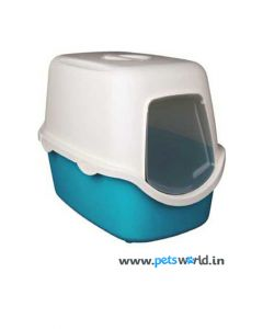 Trixie Vico Cat Litter Tray With Dome Turquoise/White - LxBxH : 23x16x16 inch