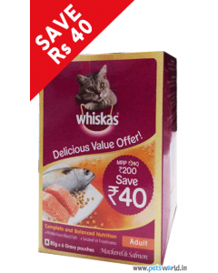 Whiskas Adult Mackerel and Salmon 85 gms DELICIOUS VALUE OFFER