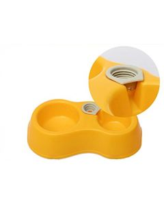 Petsworld Plastic Pets Food and Water Bowl Feeder for Small Medium Dogs & Cats Yellow