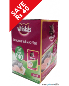 Whiskas Adult Tuna and White Fish 85 gms DELICIOUS VALUE OFFER