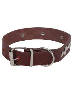 Petsworld Durable PU Leather Adjustable White Stone Cross Adjustable Dog Collar - Brown